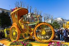 Art made of lemons and oranges in the famous Lemon Festival Fete du Citron in Menton, France. The famous fruit garden receives 230,000 visitors a year stock photo