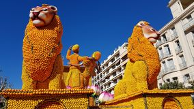 Art made of lemons and oranges in the famous Lemon Festival Fete du Citron in Menton, France. The famous fruit garden receives 230,000 visitors a year royalty free stock photography