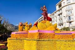 Art made of lemons and oranges in the famous Lemon Festival Fete du Citron in Menton, France. The famous fruit garden receives 230,000 visitors a year stock image
