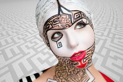 Art make up maze puzzle. Beautiful woman with conceptual art makeup, big white picture on face, red lips, black lines of maze puzzle, close up new portrait Royalty Free Stock Images