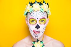 Art make up. New creative make up of funny human sugar skull. applied to face-art Mexican celebration, Day of the Dead Dia de los Muertos, Roman Catholic holiday stock photography
