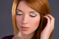 Art makeup  close-up on the face model Royalty Free Stock Images