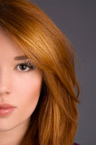 Art makeup  close-up on the face model Stock Photo
