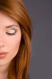 Art makeup  close-up on the face model Stock Photos