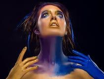 Art Makeup creativo Ritratto dello studio del primo piano di giovane modo m. fotografia stock