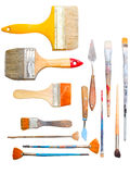 Art making tools. Brushes and other art making tools Stock Images