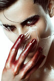 Art man make up. With red paint royalty free stock photos
