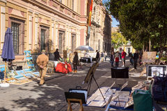 Art market in museum district Seville, Spain Royalty Free Stock Photography