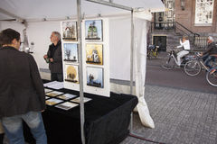 Art market on Spui Square in centre of Amsterdam Stock Images