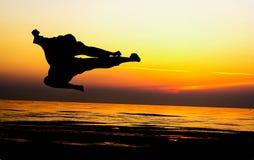 Art martial de coup-de-pied images libres de droits
