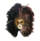 Art mask. Decorative theatrical mask with feathers on a white background royalty free stock image