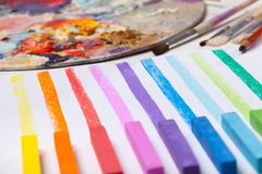 Art materials and colored lines Stock Image
