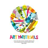 Art materials for craft design and creativity. Vector isolated illustration in circle shape. Banner, poster background. Art materials for craft design and royalty free illustration
