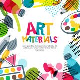 Art materials for design and creativity. Vector doodle illustration. Banner, poster or frame background. Art materials for design and creativity. Vector doodle Stock Images