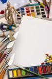 Art Materials die - schilderen - Ruimte voor Tekst Stock Foto's