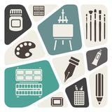 Art materials icons Stock Images