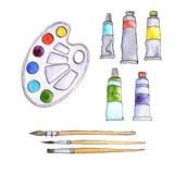 Stationery, art materials, set of paint brushes Royalty Free Stock Photos