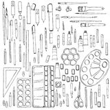 Stationery, art materials, set of paint brushes Stock Photos