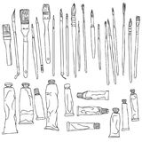 Set of paint brushes and paint tubes Stock Photography