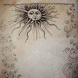 Art in the medieval style, with old parchment texture. Frame of curls and the sun with a human face. Free space in the center stock image