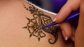 Art of mehendi. Master works on models back, close stock footage