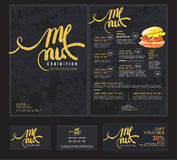 Art menu cafe and restaurant. Royalty Free Stock Images