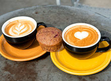 Art milk mocha coffee and muffin Royalty Free Stock Photos