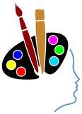 Art mind. Isolated line art logo design Royalty Free Stock Photos