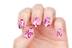 Art modern pink abstract manicure Stock Photos