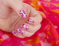 Art modern pink abstract manicure Stock Photo