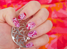 Art modern pink abstract manicure Stock Images