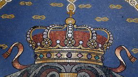 Mosaic detail on floor Vittorio Emanuele II Gallery. Milan. Italy royalty free stock photo