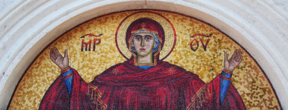 Art mosaics icon of Virgin Mary Stock Photo