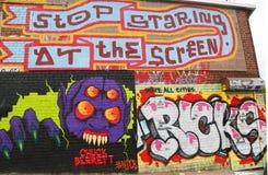 Art mural dans la section d'Astoria dans le Queens Photo stock