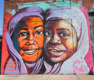 Art mural dans la section d'Astoria du Queens Photo stock