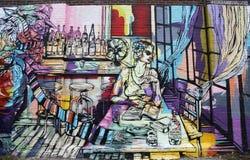 Art mural dans la section rouge de crochet de Brooklyn Photo libre de droits