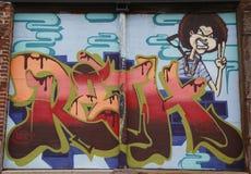 Art mural dans la section rouge de crochet de Brooklyn Photo stock