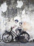 Art mural de rue de mur, Penang Images libres de droits