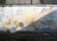 Art mural de rue de mur, Penang Photographie stock libre de droits