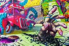 Art mural sur un mur dans la ville de Londres, R-U photo stock