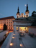 Art museum and church in Olomouc. Terrace of an art museum and the Church of the Virgin Mary of the Snow in Olomouc, Czech Republic Stock Image
