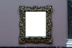 Art Museum Frame Dark Blue Wall Ornate Minimal Design White  Royalty Free Stock Images