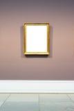 Art Museum Frame Pale Blue Wall Ornate Minimal Design White  Royalty Free Stock Image