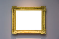 Art Museum Frame Pale Blue Wall Ornate Minimal Design White  Stock Photography