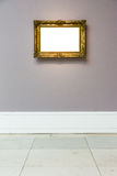Art Museum Frame Pale Blue Wall Ornate Minimal Design White  Stock Photos