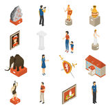Art Museum Isometric Icons Set. Historical museum building ancient exhibits paintings and visitors isometric icons collection with mammoth abstract  vector Royalty Free Stock Photos