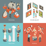 Art Museum 4 Isometric Icons Square. Historical museum medieval hall exhibits and picture gallery 4 isometric icons square banner abstract  vector illustration Royalty Free Stock Photos