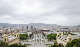 Art Museum nazionale di Catalunya in Bancelona, Spagna Panorama di bello fron europian della città l'arte di Barcellona fotografie stock libere da diritti
