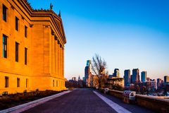 The Art Museum and skyline at sunset, in Philadelphia, Pennsylva Stock Images