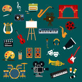 Art, music, cinema and theater icons Royalty Free Stock Photography